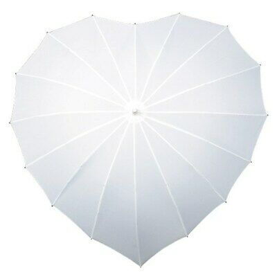 Premium Heart Shaped Wedding Umbrella Parasol White - Rain & Sun UV Protection