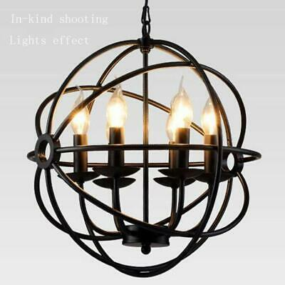 Black Metal Sphere 6 Candles Chandelier Vintage Industrial Pendant Light Kitchen