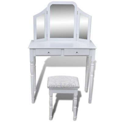 Modern White Dressing Table 3 Mirror Jewellery Cabinet Stool Drawer Organiser AU