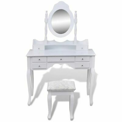 Modern Women Makeup Dressing Table White X Mirror Stool Drawer Jewellery Cabinet