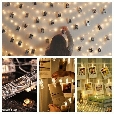10/20/40 LED Photo Picture Hanging Peg Clips Fairy String Lights Party Home Dec