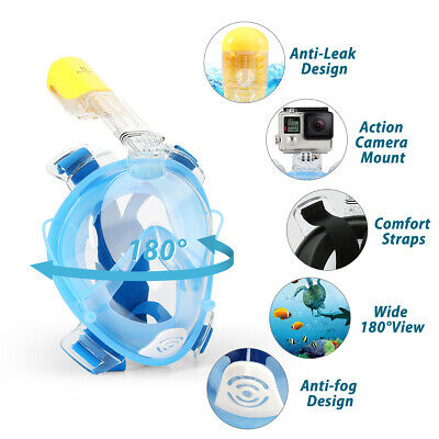 Silicone 180° Full Face Snorkel Snorkeling Mask Best Gift for Kids/Youth L/XL