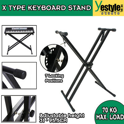 Music Piano Double Braced X Type Keyboard Stand Height Adjustable Folding Holder