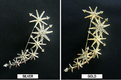 Silver Or Gold Tone 7 Star Diamante Crystal Arrows Brooch
