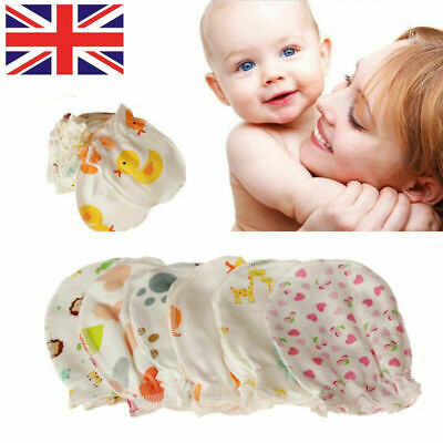 5Pairs Soft Cotton Baby Anti-scratch Gloves Infant Newborn Handguard Mittens UK