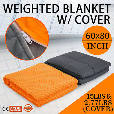 Weighted Blanket With Cover Deep Relax Sleeping Gravity For Adult Men Women