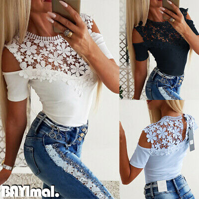 Womens Slim Shirt Lace Cold Shoulder Blouse Ladies Summer Party Short Sleeve Top