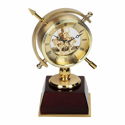 Gold Metal Compass Style Skeleton Movement Mantel Clock Mahogany Base