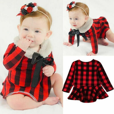 Newborn Toddler Baby Girls Plaid Romper Jumpsuit Dress Tops Outfits Clothes New