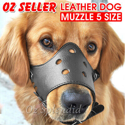 Adjustable Leather Pet Dog Mask Mouth Muzzle Anti Barking Bite Stop Chewing