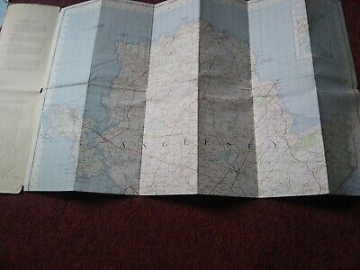 Map vintage OS one inch ANGLESEY PUB 1962 ON CLOTH