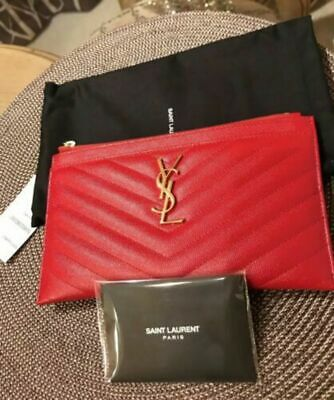 aea04c0df44 NWT YSL Saint Laurent Monogram Bill Pouch wallet card holder clutch handbag  Red