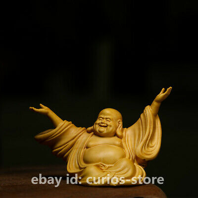 "3.9"" Chinese Exquisite Box-wood Hand-carved Happy Laugh Maitreya Buddha Statue"