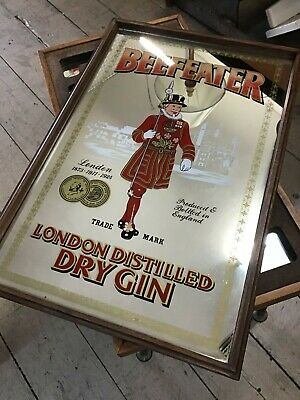 Vintage Beefeater London Dry Gin Wall hanging Mirror Bar Shed Man cave LARGE