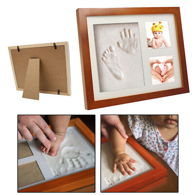 Baby Hand & Foot Print Clay Cast Kit & 2 Photo Picture Frame Christening Gift UK