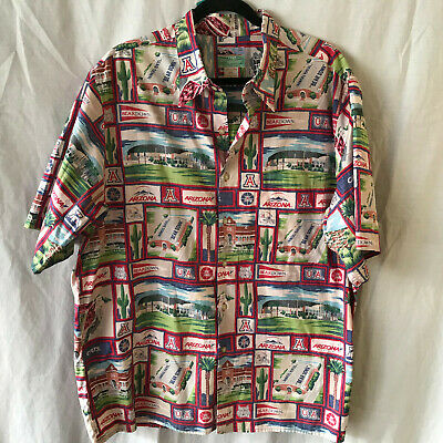 e95d84fbf Reyn Spooner Hawaiian Shirt UA University Arizona Print XL Wild Cats Bear  Down