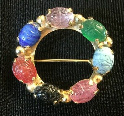 Vtg Egyptian Revival Carved Stone Scarab Wreath Brooch Pin Colorful Prong Set