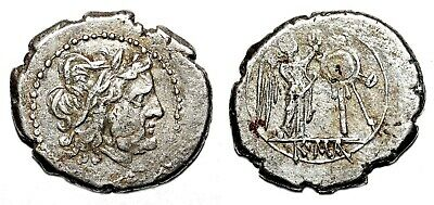 *AET* ANONYMOUS AR Victoriatus. VF+. 211-208 BC. Jupiter - Victory/Trophy.