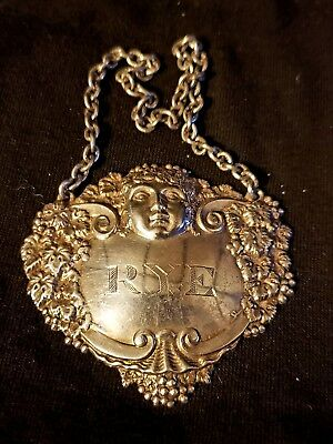 Ornate Sterling SIlver Decanter Tag, Rye