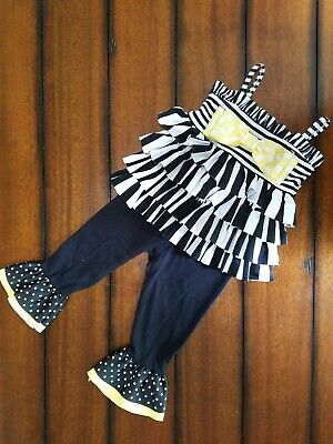 373b59ad Mud Pie Boutique Baby Girl's Black White, Yellow Dot Ruffle Bow Outfit 6-9