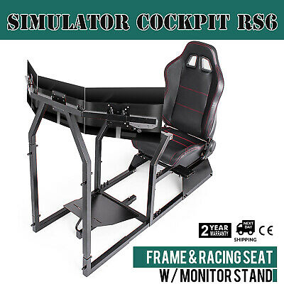 Racing Simulator Cockpit Gaming Chair W/ Monitor Stand Moveable Stable Dynamic