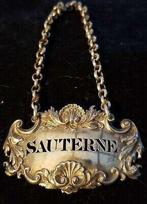 An exceptional Sterling Silver Decanter Tag,Sauterne,1826