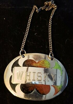 Sterling Silver and Enamel decanter tag, whisky