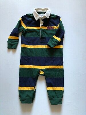 Ralph Lauren Infant Baby One Piece Boy Play Suit Rugby Striped 6 Months