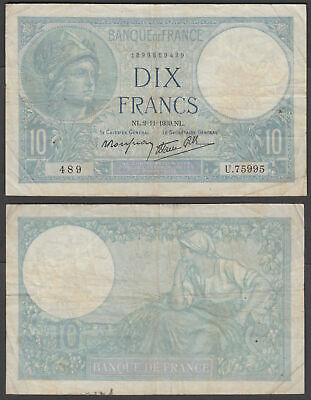 France 10 Francs 1939 (F-VF) Condition Banknote P-84