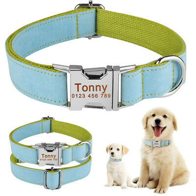 Nylon Personalised Dog Collar Pet Puppy Name ID Tags Custom Engraved XS S M L