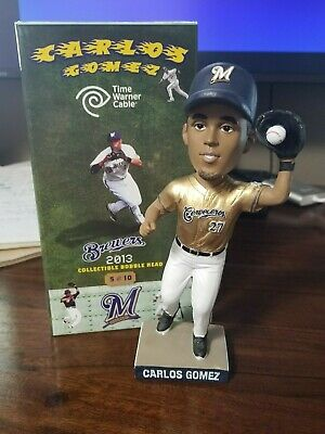 7f063a85e6b 2013 Carlos Gomez Milwaukee Brewers Bobblehead Gold Jersey Cerveceros with  Box