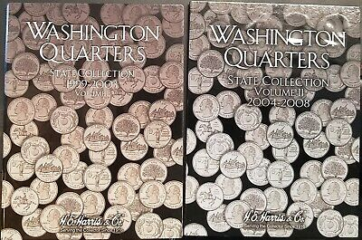 2 - WASHINGTON STATE QUARTERS 1999-2008 Volumes 1 and 2 Coin Folders L@@K!