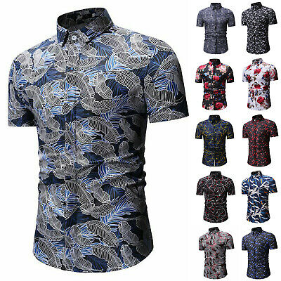 Mens Business Tee Shirts Short Sleeve Summer Blouse Casual Formal Slim Fit Tops