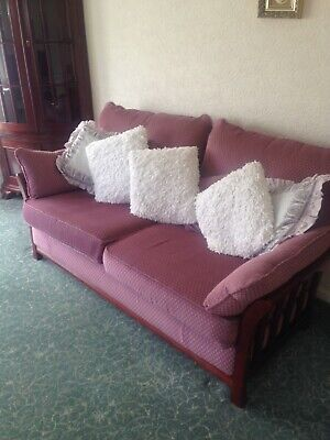 ercol type lounge sofa plum retro vintage 3 seater 2 seater