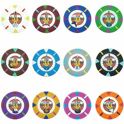 Rock & Roll 13.5g Clay Poker Chips Sample Set New - 12 Denominations