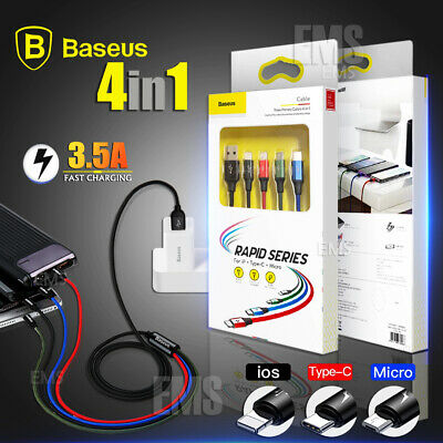 Baseus 4in1 Multi USB Type C /lightning /Micro USB Fast Charging Charger Cable