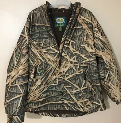 2c5ccf0baf481 Cabelas Dry Plus Rain Fleece Lined Jacket Pullover Hood Advantage Camo Sz L  - XL