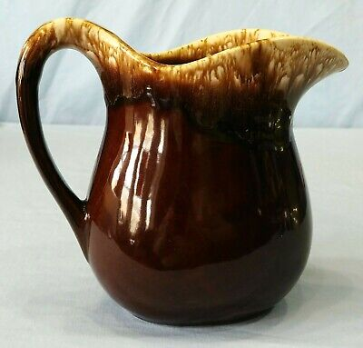Vintage Brown Drip Glaze Pitcher 6-1/2 Inch Drip Glaze Pottery