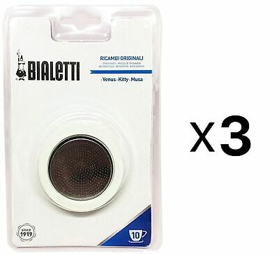 Bialetti Gasket and Filter Set for Stainless Steel Espresso Maker 10 Cup(3-Pack)