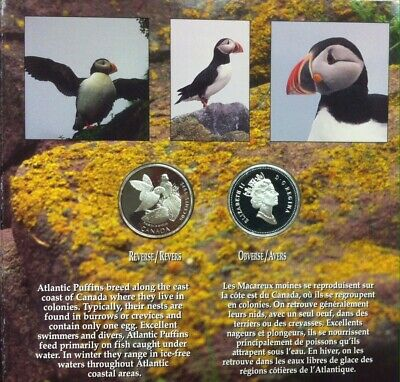 1995 Canada On The Wing .925 Silver   50¢ Set Atlantic Puffin & Whooping Crane