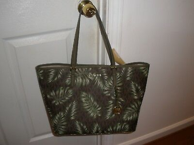 b2440a4c5f90fe NWT Michael Kors Jet Set Travel Large Carry Tote In Brown Olive Pvc WOMEN  Bag