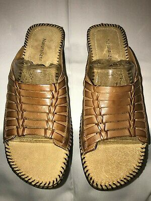 Cole Haan Cady D44472 Woodbury Leather Flat Woven Vamp Sandle W// Ankle Strap