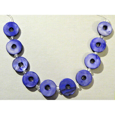 Antique Vintage Art Deco Shell Carved Blue Beads Mother of Pearl Necklace Gift