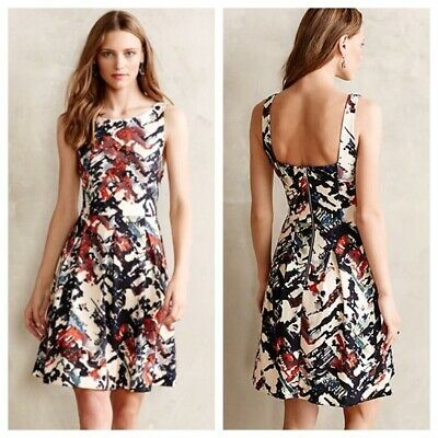 fbe98c41f227 Anthropologie Maeve Sz M Capelle printed sleeveless dress fit & flare  multicolor