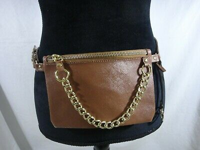 5d40a5ade857 MK Michael Kors Waist Pouch Bag Fanny Pack Faux Leather Chain BROWN SMALL