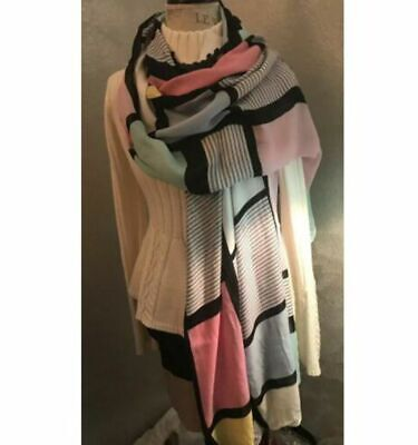 NWT Kate Spade New York oblong scarf Shawl Valentine Pink festive fun Pink Black