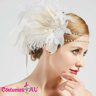 1920s Headband Feather White Wedding Bridal Great Gatsby 20s Flapper Headpiece