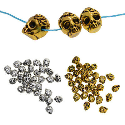 Prettyia 60x Golden&Silver Skull Head Spacer Bead Jewelry Connector 2mm Hole