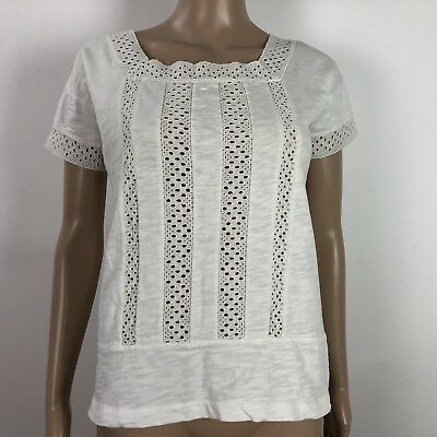 737ada183b Madewell Womens Size XS Top Eyelet Short Sleeve Top Spring White Vignette  Cotton