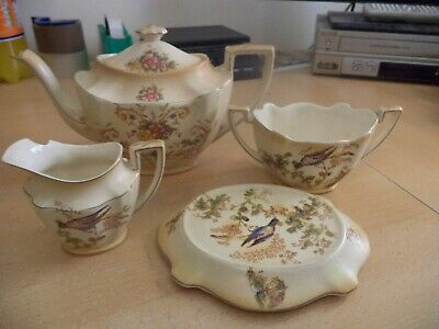 CROWN DUCAL WARE victorian BLUSH louis OLD ANTIQUE CHINA TEA POT SET SERVICE